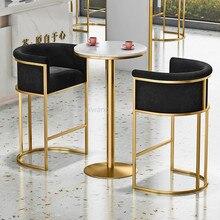 Bar Stool Chair Dresser Casting Coffee Velvet Living-Room Pink Golden Luxury Iron Metal