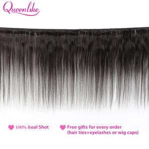 Image 2 - Queenlike Braziliaanse Haar Weefsel Bundels Met 2x6 Diepe Kim K Sluiting Niet Remy Human Hair Inslag 3 Straight haar Bundels Met Sluiting