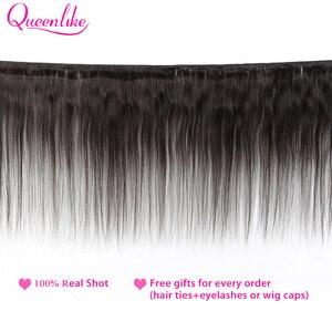 Image 2 - Queenlike ברזילאי שיער Weave חבילות עם 2x6 עמוק Kim K סגר ללא רמי שיער טבעי ערב 3 ישר שיער חבילות עם סגירה