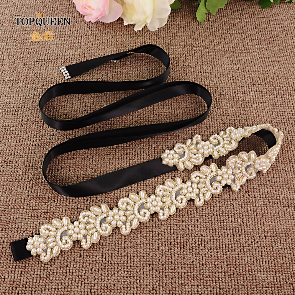TOPQUEEN Fashion Wedding Bridal Belt Vintage Wedding Belts Beaded Applique Belt Black And Pearl Belt Design Sash Belt S412