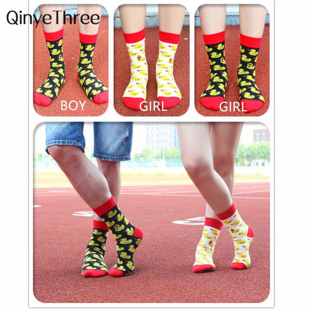 Cartoon Hip Hop Cool Duck Socks Cotton Women Skateboard Socks Art Funny Lovers Socks Harajuku Animal Couple Casual Sock Dropship