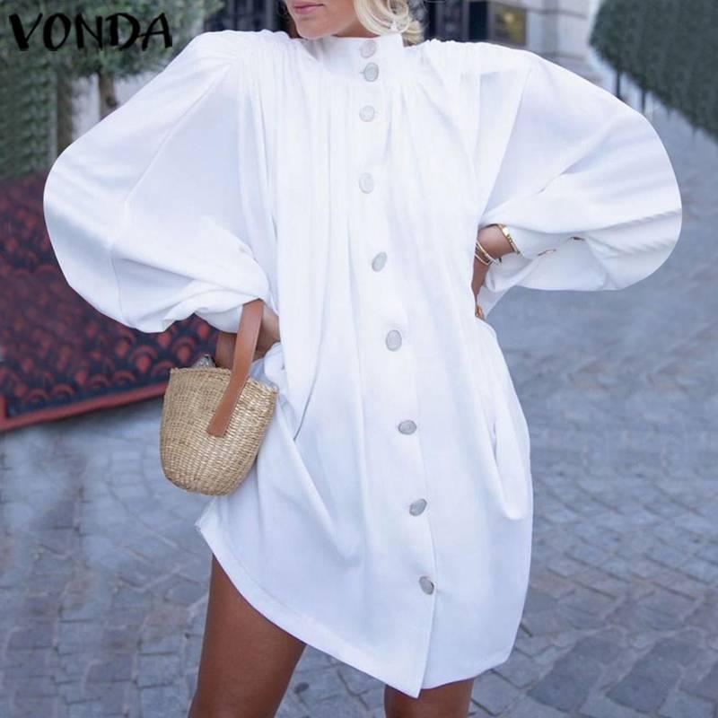 VONDA Women White Dress Lantern Sleeve  Party Shirt Sexy Dress 2020 Spring Summer Beach Top Office Lady Sundress Plus Size Tunic