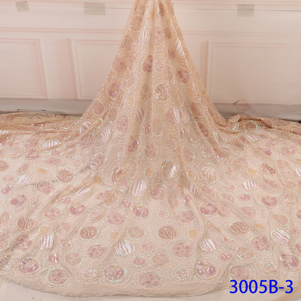African Lace Fabric Embroidered High Quality Switzerland Lace French Lace Sequins Fabric French Bridal Lace For Dress YA3005B-3