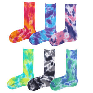 Men Unisex Novelty Colorful Tie-dyeing Skateboard Socks.Cotton Harajuku Hiphop Socks Sox Ethnic Couple Long Sock Meias