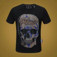 Philipp Plein-Marque Originale Conception T-shirt homme Bleu PP Crâne Chaud Strass T-shirt À Manches Courtes D'été Haut T-shirts