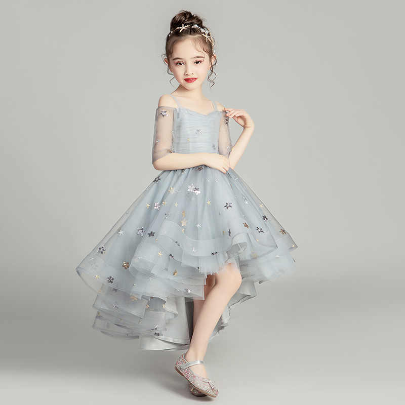 Girls Dress Flower Girl Wedding Banquet Dress Kids Girl Elegant Princess Dress Children Evening Dress Model Catwalk Show Clothes
