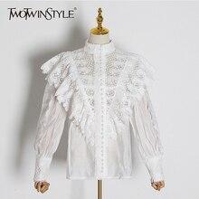 TWOTWINSTYLE Лоскутные кружевные женские блузки со стоячим воротником и фонариком, рубашки с длинным рукавом, Женская мода, одежда