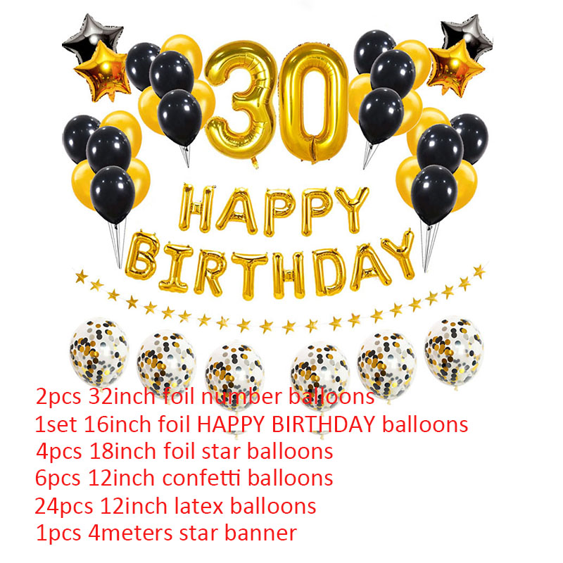 New Red Black HAPPY BIRTHDAY Foil Balloon  Latex Confetti baloon Party Decoraton