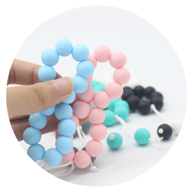 DIY Food Grade Baby Teethers 12mm Bead Handmade Pacifier Clip Holder Chain Silicone Pacifier Chains Teether Toy For Newborn Gift