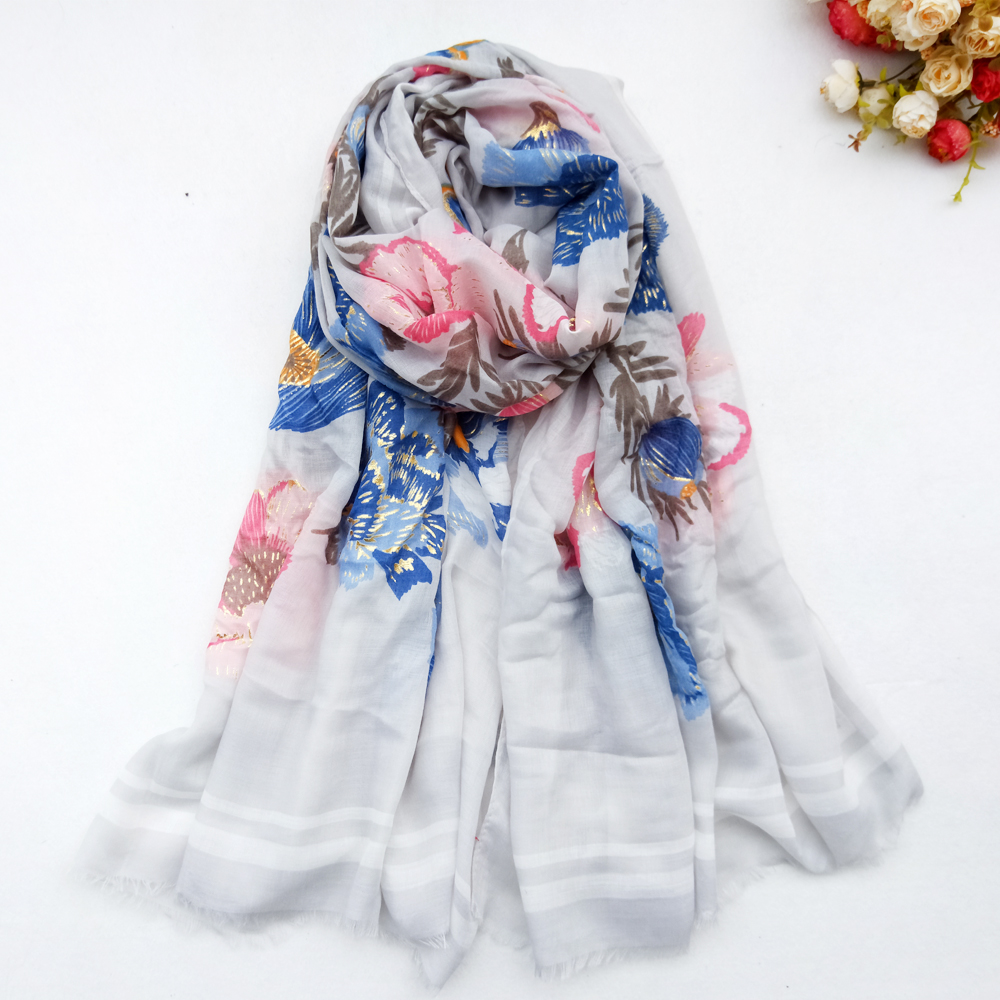 Cotton Women Long Scarf Flower Soft Spring New Lady's Viscose Shawls Thin Summer Female Wraps Muslim Hijabs Head Scarf
