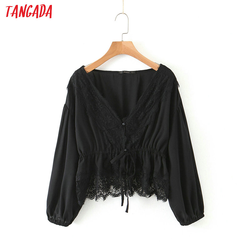 Tangada Women Retro Solid Lace Patchwork Blouse Long Sleeve Chic Female Tunic Shirt Blusas Femininas HY51