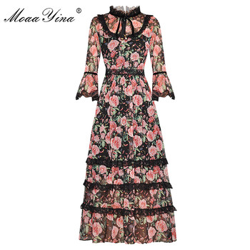 MoaaYina Fashion Designer dress Spring Summer Women's Dress Stand collar Lace Rose Elegant Floral-Print Dresses stand collar lace tea length dress page 4