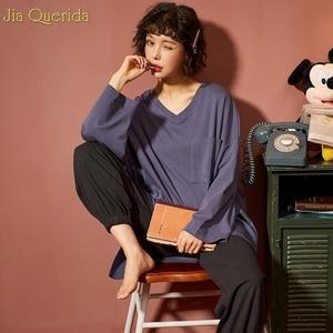 Image 5 - מינימליסטי סגנון נשים של הלבשת Loose גודל ורוד למעלה גריי מכנסיים נשים של שני חתיכות כותנה Pjs תלמיד בנות בית בגדי חליפה