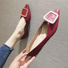 Chaussures à bout pointu pour femmes, ballerines souples, chaussures de travail simples, rouge, nouveauté printemps automne 2020