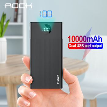 ROCK Power Bank 10000mAh Portable Quick Charge PowerBank USB PoverBank External Battery Charger For iPhone XR 8 Xiaomi Samsung