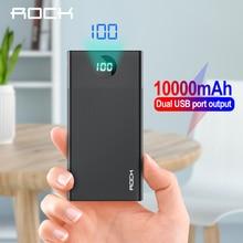 ROCK Power Bank 10000mAhแบบพกพาชาร์จPowerBank USB PoverBankภายนอกสำหรับiPhone XR 8 Xiaomi Samsung