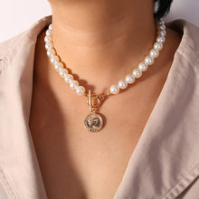 Laramoi Women's Necklace Pearl Coin Queen Head Necklace Lock Shape Clavicle Chain Girls Party Jewelry(China)