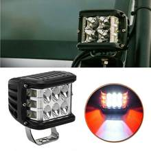4 Inch 45W Work Cube Side Shooter LED Light Bar Pod White & Red Strobe Lamp SUV