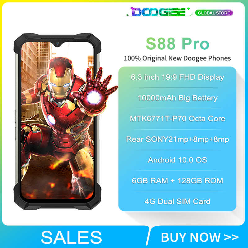 IP68/IP69K DOOGEE S88 Pro Telefono Cellulare Robusto 10000mAh Batteria HA CONDOTTO LA Luce Helio P70 Octa Core 6GB di RAM 128GB di ROM Android 10 Smartphone