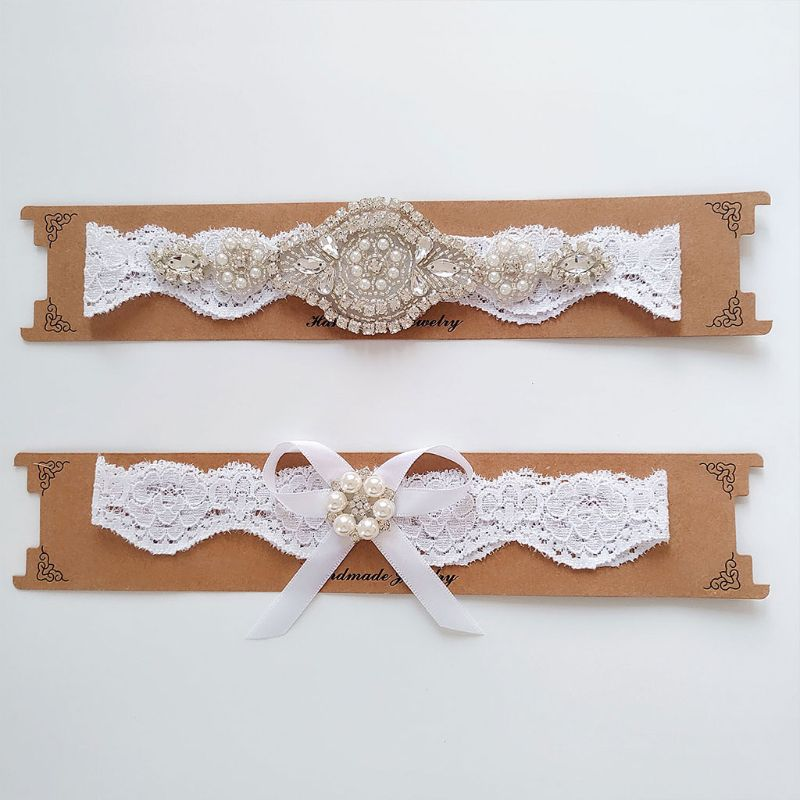 2Pcs/Set 2Pcs/Set Women Wedding Bridal Floral Lace Thigh Rings Elastic Leg Garters Rhinestone Faux Pearl Bowknot Beaded Glitter