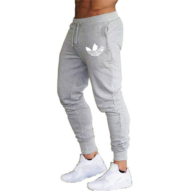 Casual Trousers Jogger-Pants Gray Sportswear Gyms Fitness New Thin Men
