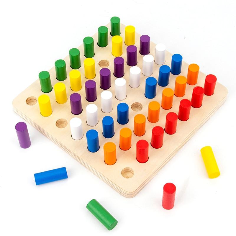 Jouets sensoriels en bois Montessori intégration de sens coloré aides pédagogiques cognitives bâtons d'insertion en bois jouets éducatifs pour les enfants