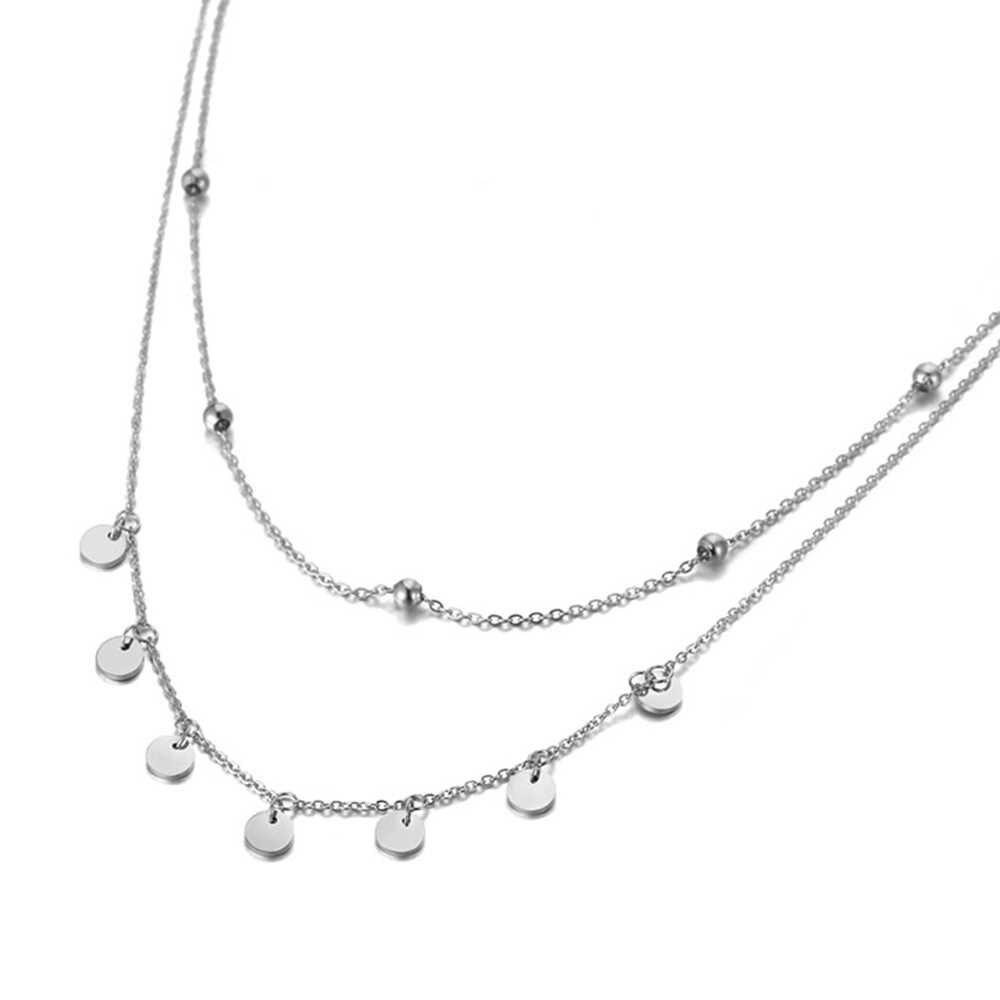 Lokaer модное богемное Двухслойное ожерелье-чокер из нержавеющей стали с подвеской и цепочкой пляжные украшения ожерелье с подвеской для женщин N19127