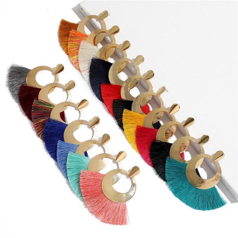 Fashion Bohemian Big Tassel Drop Earrings Hollow Gold Circle Fan Shape Cotton Fringe Stud Earinngs For women Jewelry Gift