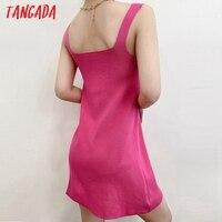Tangada Fashion Women Solid Elegant Candy Color Knit Dress Sleeveless 2021 Summer Ladies Dress AI57 3