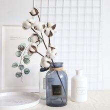 Naturalmente secas hastes de algodão fazenda artificial enchimento de flores decoração floral falso flor algodão diy guirlanda casa decoração do casamento