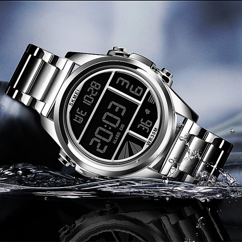 3Bar Waterproof Alarm Clock Multifunction Military Fashion Men Watch Led Digital Watches Double Display Man Sports Hours 12/24 G