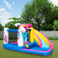 Unicorn Theme Inflatable Bounce House Bouncer Castle Water Slide With Blower Giant Outdoor Inflatable Toys for Kids