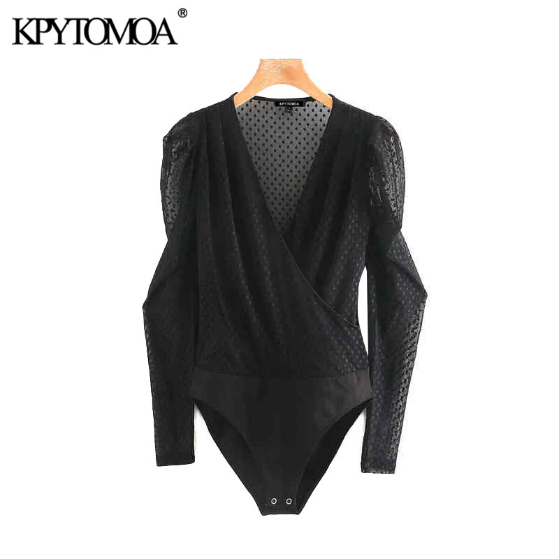 Vintage Sexy Transparent Polka Dot Mesh Bodysuits Women 2020 Fashion V Neck Long Sleeve Party Club Female Playsuits Chic Tops