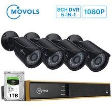 Система видеонаблюдения movols 8 каналов 4 камеры 1080p уличная