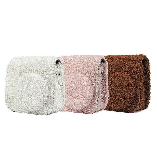 Fujifilm Instax Mini 9 Mini 8 Camera Case Instant Film Camera Accesories Plush Cover Shoulder Strap Bag Protector Case Pouch