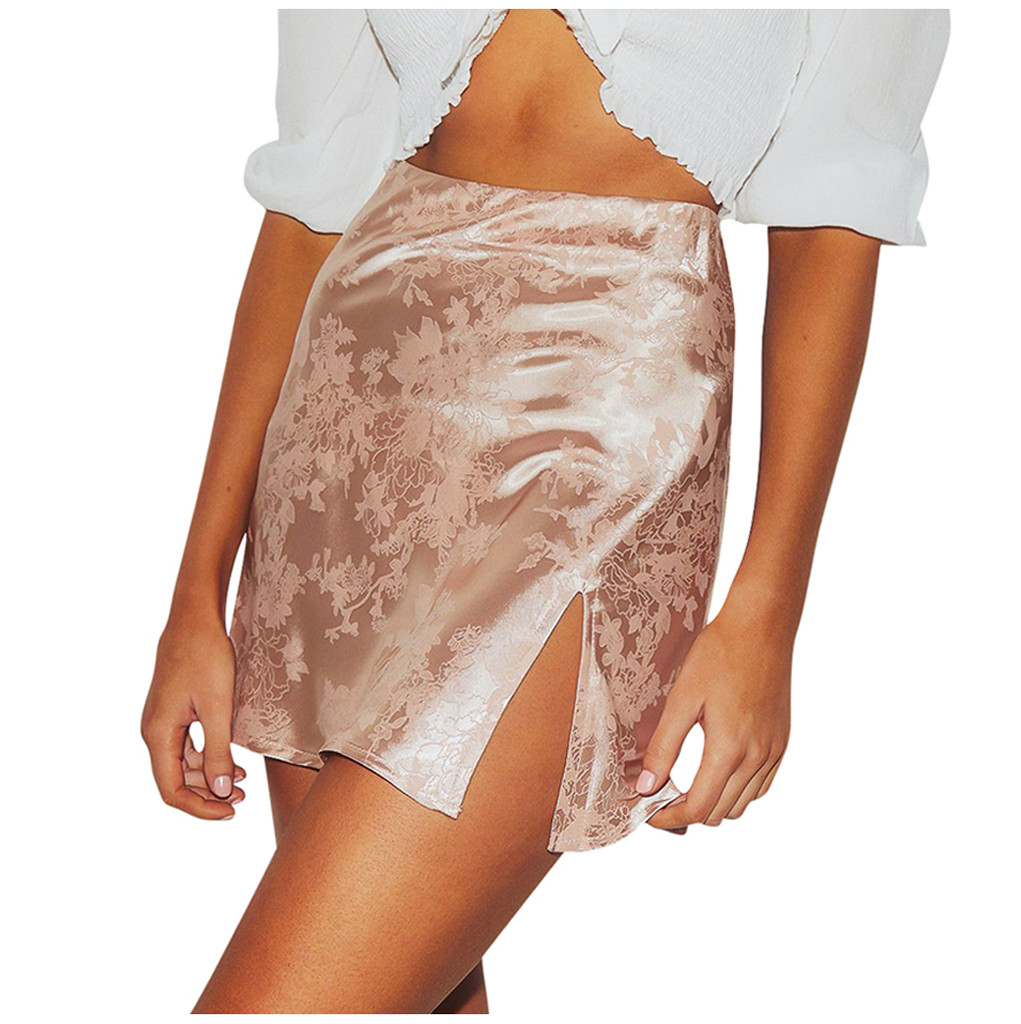 Explosive Jacquard Satin Skirt Womens Sexy Bodycon Party Zipper Slim High Waist Split Mini Skirts 2020 new