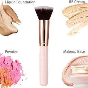Luxury Champagne Makeup Brushes Flat Top Foundation Brush Large Face Brush Repair brush contour brush for Liquid Cream Powder