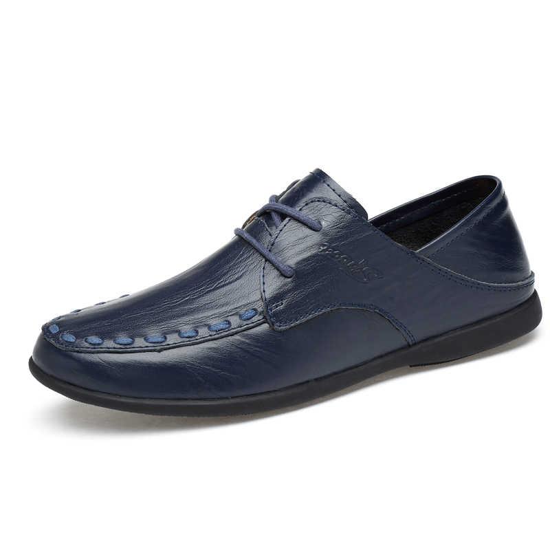 2019 ใหม่แฟชั่น PU หนังผู้ชายลำลองรองเท้าสบาย Breathable แบนผู้ชายรองเท้า Loafers