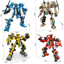 8 Pcs/Set Assembled Engineering Vehicle Fire Truck  Small Particle Building Block Toys Assemble Robot Blocks Boys Toys