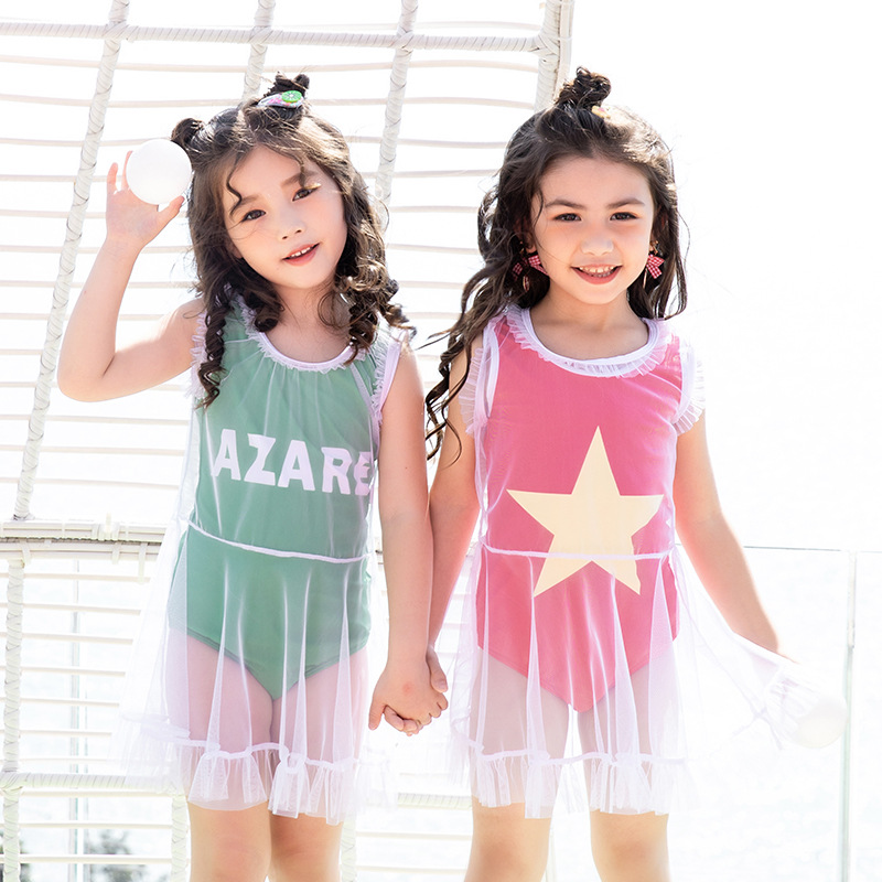 2020 New Style Korean-style CHILDREN'S Blouse Two-Piece Bathing Suit Cute Children Princess Baby Hot Springs Swimwear GIRL'S