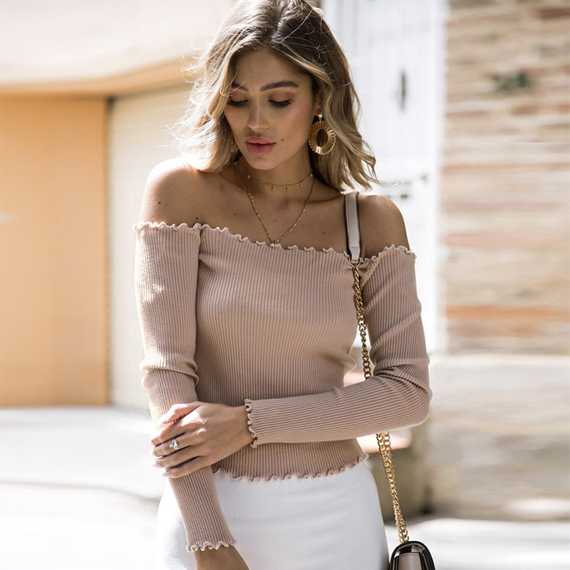 Chandails mode 2019 femmes hors épaule chandail tricoté pull automne hiver femmes chandail tricots Femme pulls Haut Femme