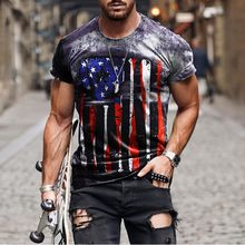 The Latest! ! ! Printed T-shirt, National Flag Pattern, Breathable Fabric, Retro Style, Cost-effective Summer T-shirt