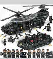 QL 0108 Series Militar Helicóptero de Transporte Da Cidade Fit Equipe Da SWAT Da Polícia Blocos de Construção Tijolos de Presente de Natal Das Crianças Do Miúdo