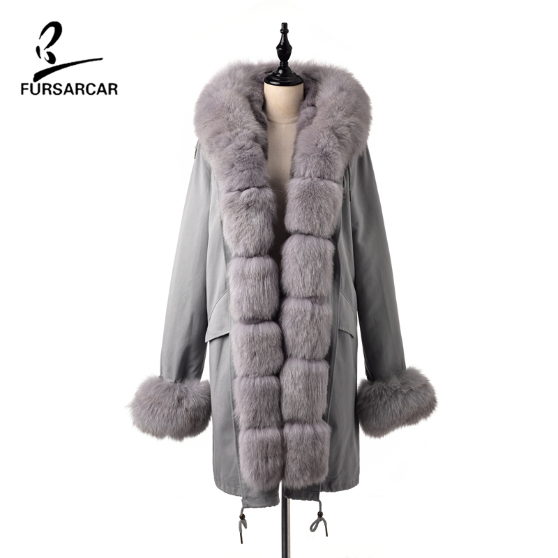 FURSARCAR  Womens Parka Real Blue Fox Rex Rabbit Natural Genuine Fur Collar Hooded Jackets Winter Coat For Female Clothing