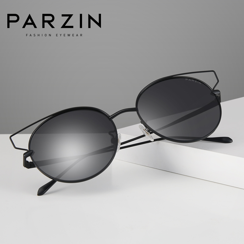 Parzin marca designer óculos de sol das mulheres alta qualidade grande frame da liga do vintage polarizado óculos de sol para acessórios motorista 8157 - 2