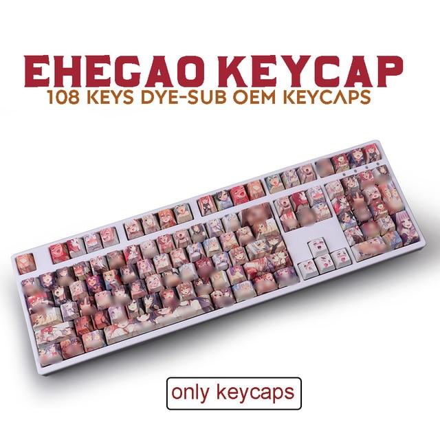108key PBT Keycaps Dye Sublimation OEM Profile Keycap Ahegao Anime Keycap For Cherry Mx Gateron Kailh Switch Mechanical Keyboard