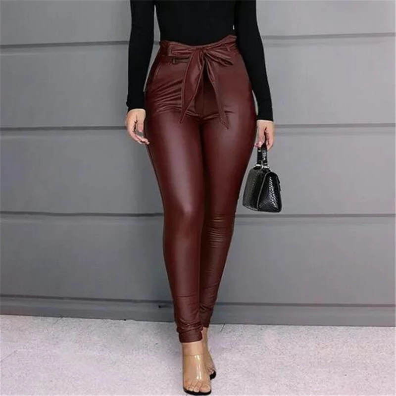 Women's Leggings PU Leather High Waisted Pants Stretchy Bowknot Skinny Pencil Trousers Bow Womens Pants Black Wine Red Trousers