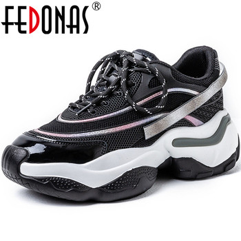 FEDONAS Genuine Leather 2020 Summer Autumn Women Sneakers Platforms Flats Party Prom Cross Tied Fashion Newest Round Shoes Woman