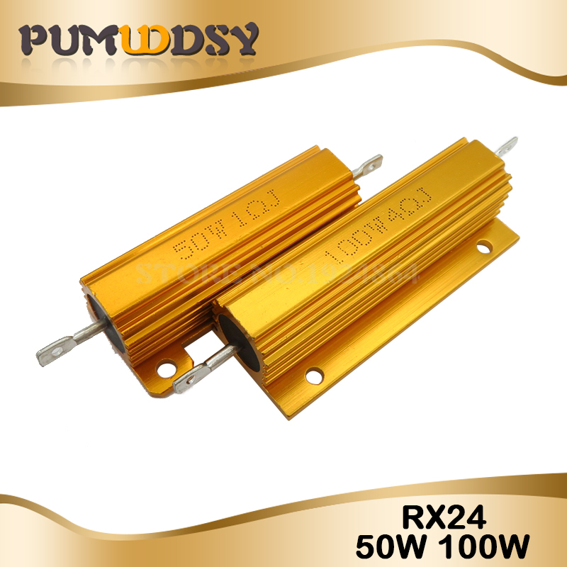 RX24 100W 50W Watt Power Metal Shell Aluminium Gold Resistor 1R 2R 3R 4R 5R 6R 8R 10R 15R 20R 30R 40R 100R 200R 220R Resistance
