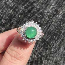 Green Agate Open Ring Retro Diamond Ring Ladies Chalcedony Jewelry S925 Silver